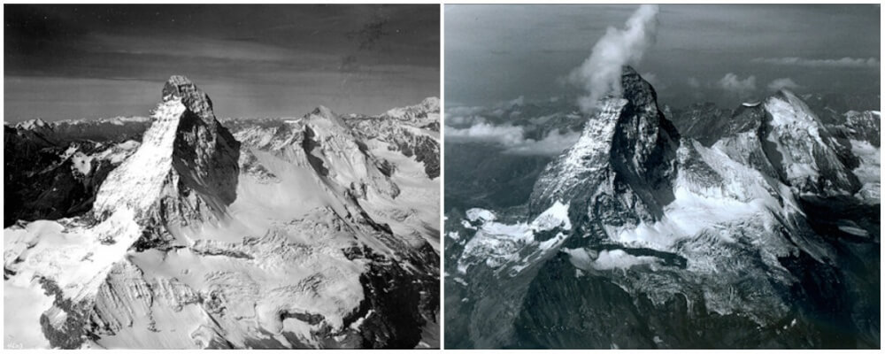 Matterhorn Mountain in the Alps, on the border between Switzerland and Italy. August, 1960 — August, 2005